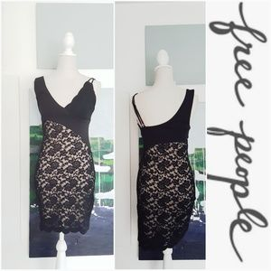 NWT FREE PEOPLE BLACK LACE BODYCON DRESS